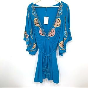 Free People Dress Blue Embroidered Mini Boho